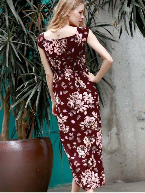 sale Floral Off The Shoulder Short Sleeve Playsuit - WINE RED M Mobile