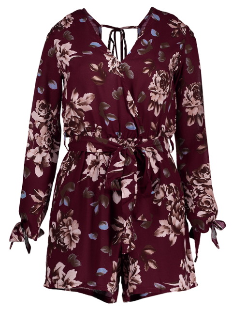affordable Floral V Neck Off The Shoulder Playsuit - WINE RED S Mobile
