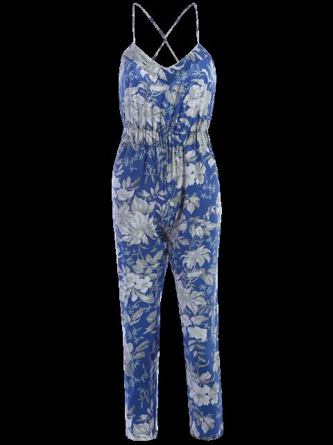 women's Blue Floral Print Cami Jumpsuit - BLUE M Mobile