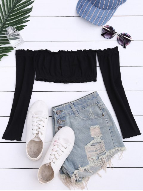 fashion Button Up Off Shoulder Cropped Top - BLACK ONE SIZE Mobile
