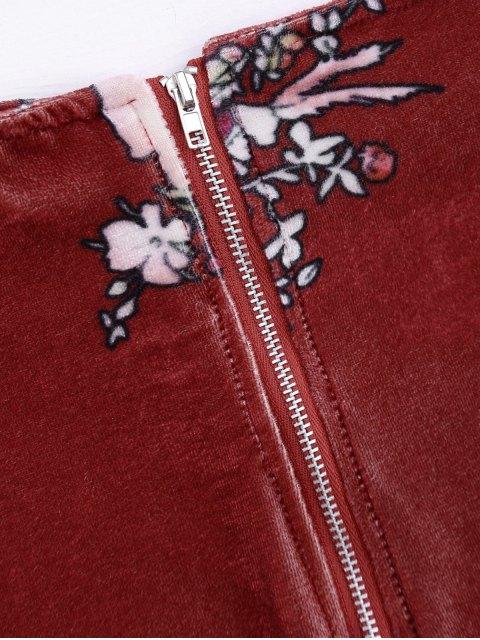 women Velvet Floral Crop Top and Bodycon Skirt - CLARET S Mobile