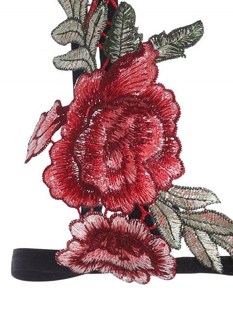 sale Bondage Floral Applique Lingeries Bra - BLACK M Mobile