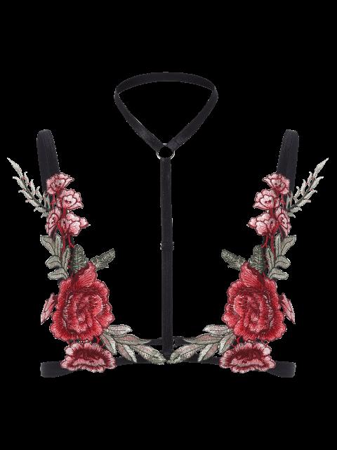 affordable Bondage Floral Applique Lingeries Bra - BLACK S Mobile