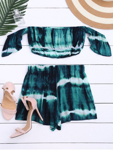 hot Tie-Dyed Off The Shoulder Crop Top and Shorts - BLACKISH GREEN S Mobile