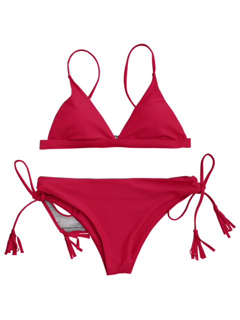 shops Cami Plunge Bikini Top and Lace Up Bottoms - RED M Mobile