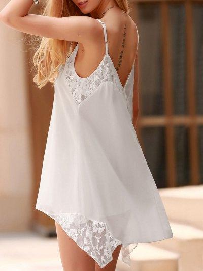 Lace Spliced Spaghetti Straps Solid Color Dress - White