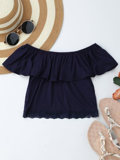 Off Shoulder Ruffle Lace Crop Top - Purplish Blue