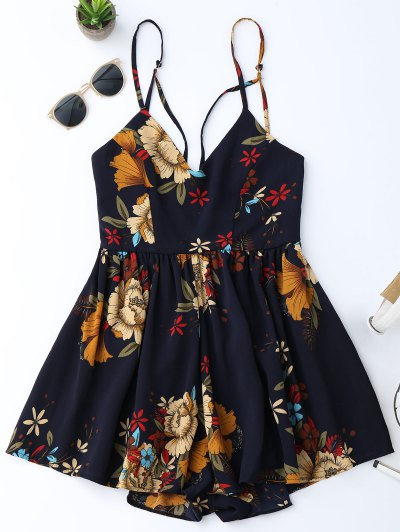Zaful Floral Criss Cross Romper