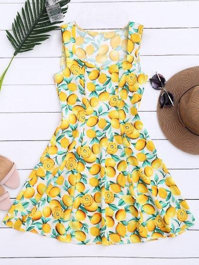 Lemon Print Sleeveless Dress - Yellow