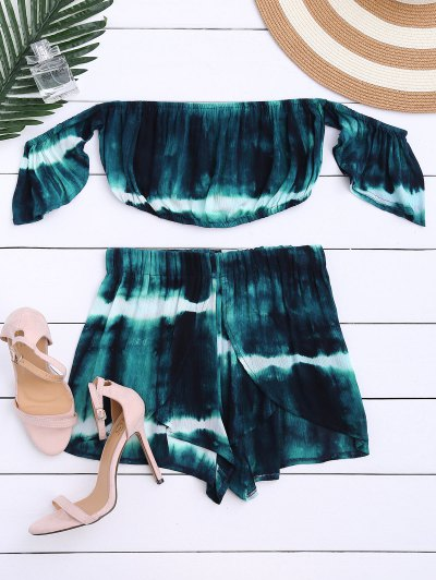 Tie-Dyed Off The Shoulder Crop Top And Shorts - Blackish Green