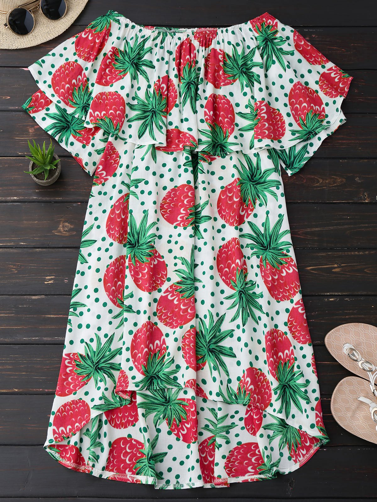 Ruffle Off Shoulder Pineapple Dress, Plum