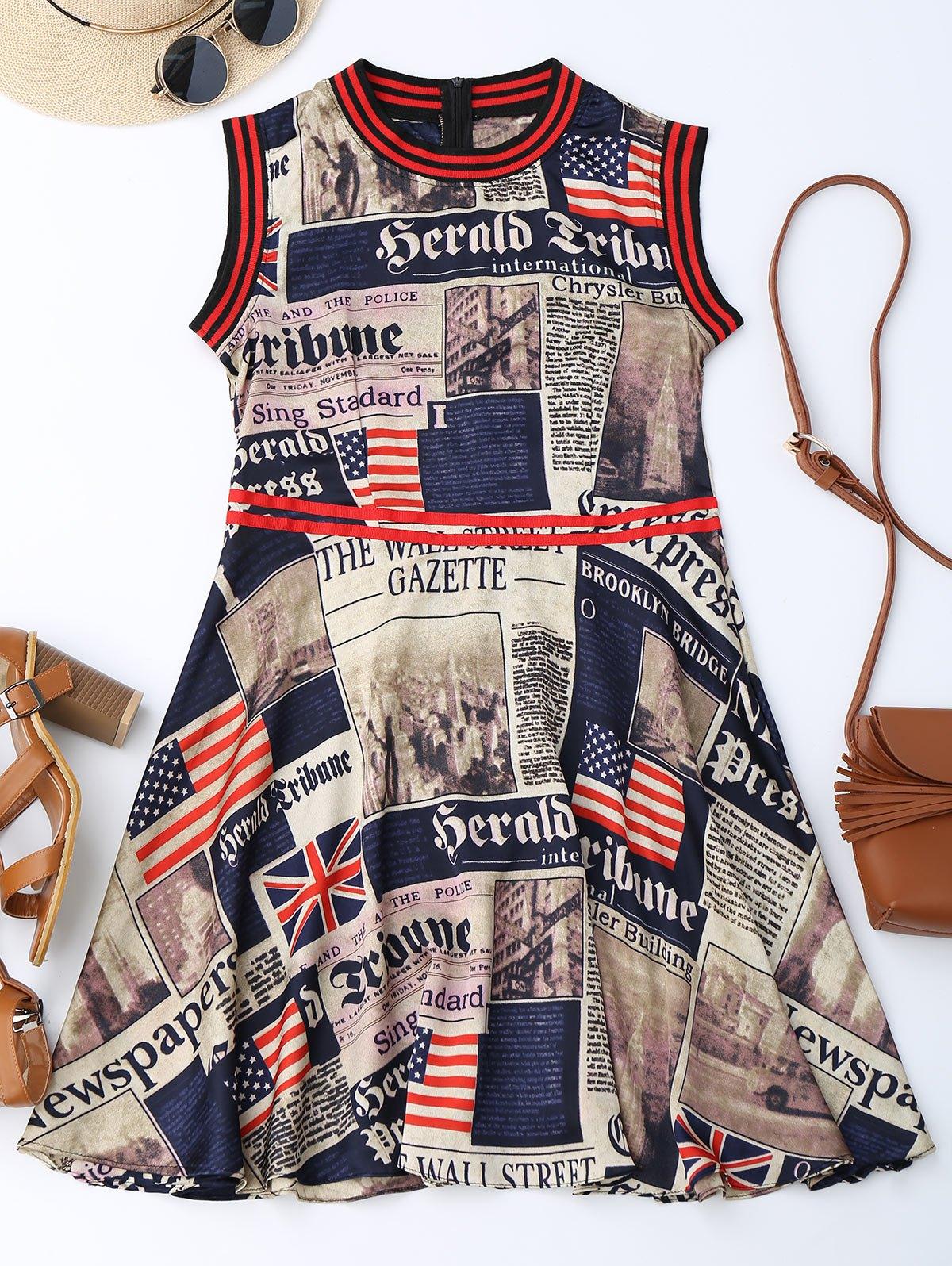 Newspaper American Flag Print Sleevelss Dress, Colormix