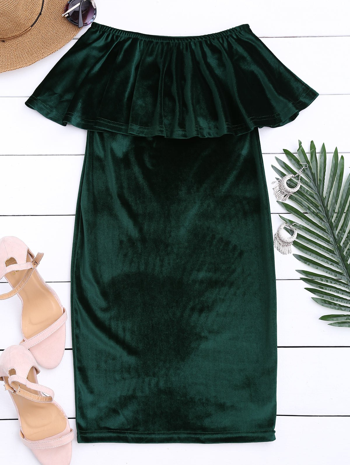 Off The Shoulder Ruffle Velvet Dress, Blackish green