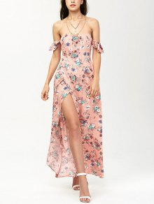 Off The Shoulder Maxi Floral Slit Dress - Orangepink