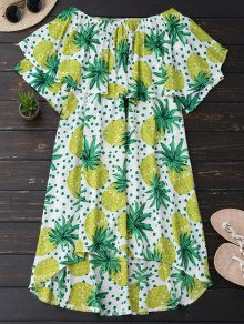 Ruffle Off Shoulder Pineapple Dress - Bluish Yellow 2xl
