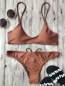 Spaghetti Straps Padded Bikini Set - Dark Auburn M