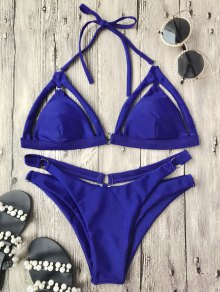 Rings Cutout Caged Bikini Top and Bottoms