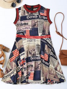 Newspaper American Flag Print Sleevelss Dress