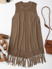 Knitted Sleeveless Fringed Flapper Dress