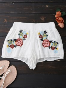 Lined Floral Embroidered Shorts
