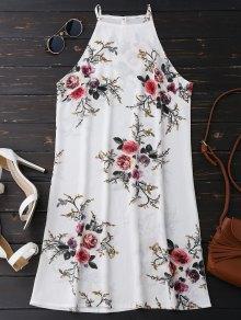 Floral High Neck A-Line Dress