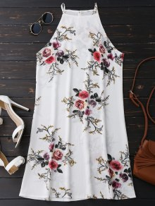 Floral High Neck A-Line Dress