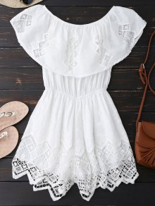 Lace Trim Cut Out Off Shoulder Romper