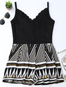 Geometric Panel Lace Trim Romper - Black M