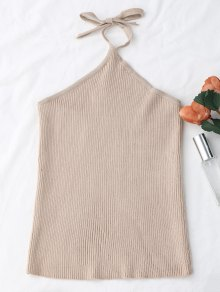 Halter Knitting Ribbed Tank Top - Albaricoque