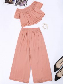 Off Shoulder Top And Wide Leg Capri Pants - Papaya