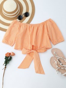 Off Shoulder Plaid Knot Hem Crop Top