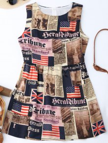 Sleeveless American Flag Patriotic Dress