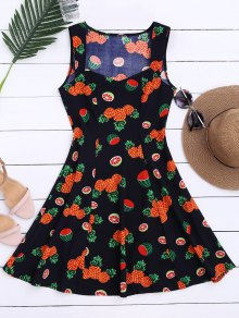 Sleeveless Pineapple Watermelon Dress - S