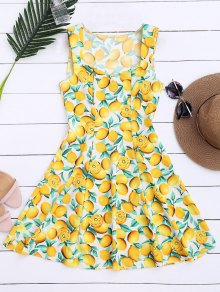 Lemon Print Sleeveless Dress