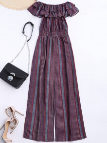 Off Shoulder Wide Leg Jumpsuit With Stripe