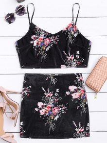 Velvet Floral Crop Top And Bodycon Skirt - Black Xl