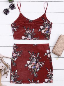 Velvet Floral Crop Top And Bodycon Skirt - Claret M