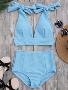 Tied Plunging Neck High Waisted Bikini - Azure L