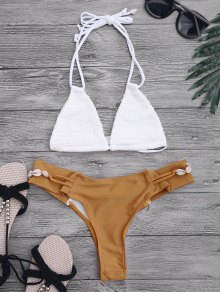 Crochet Halterneck Bikini Set - White And Brown M