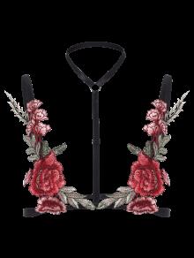 Bondage Floral Applique Lingeries Bra - Black S