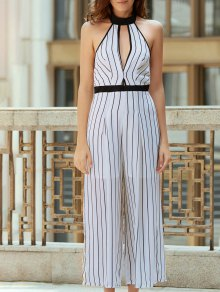 Striped Backless Cut Out Halter Sleeveless Jumpsuit - White S