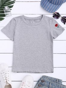 Short Sleeve Rose Embroidered T-Shirt - Gray M