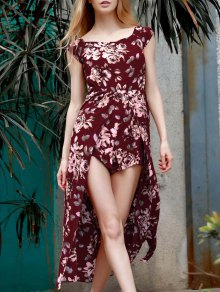 Floral Off The Shoulder Short Sleeve Playsuit - Wine Red M