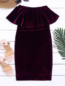 Off The Shoulder Ruffle Velvet Dress - Purplish Red S
