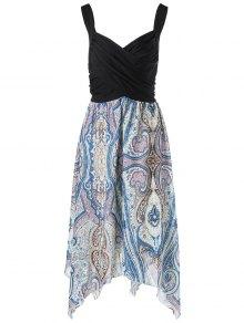 Plus Size Sweetheart Neck Paisley Handkerchief Dress