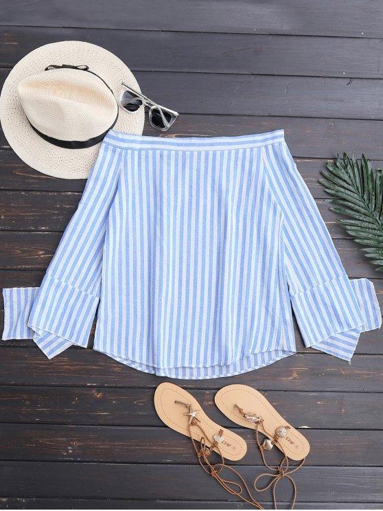 buy Slit Sleeve Off Shoulder Striped Top - BLUE STRIPE S