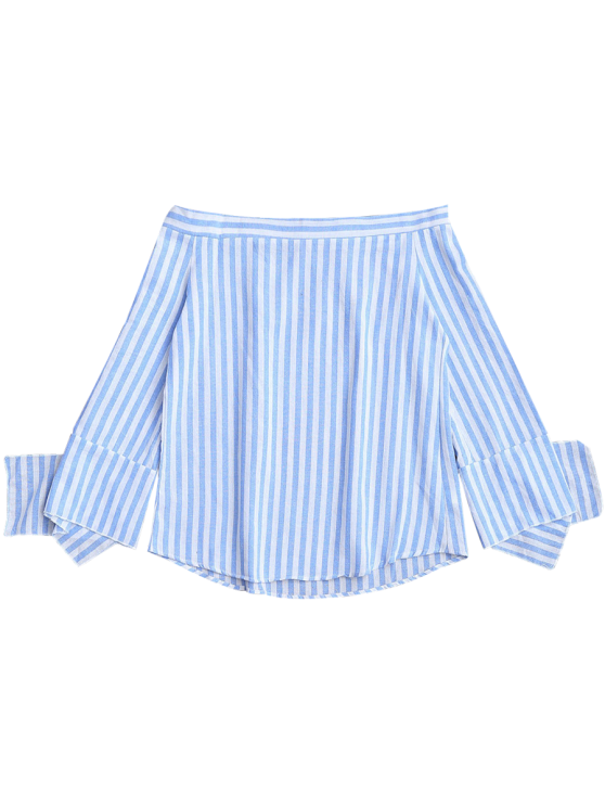 Slit Sleeve Off Shoulder Striped Top - BLUE STRIPE S Mobile