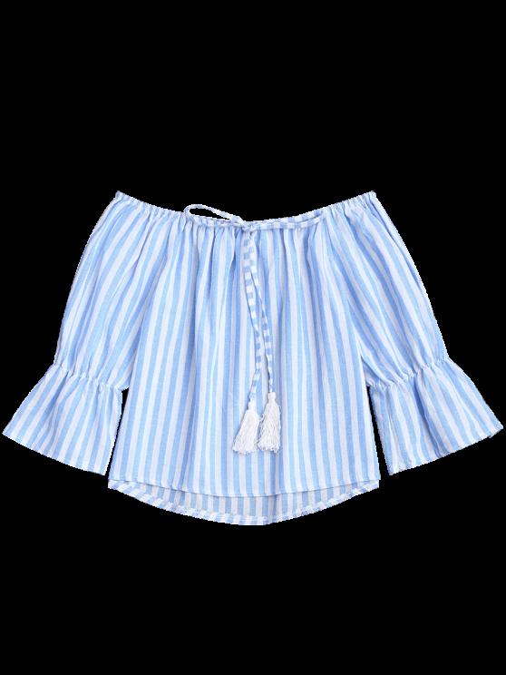 Tie Front Off Shoulder Striped Top - BLUE STRIPE S Mobile