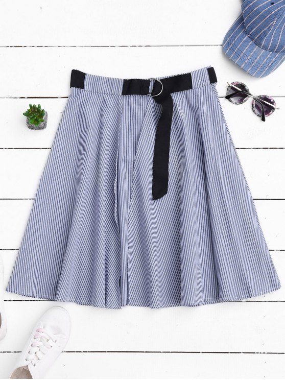 Belted Wrap Layered A-Line Skirt - STRIPE L Mobile
