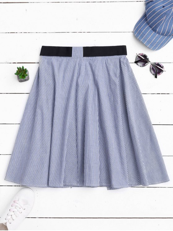 Belted Wrap Layered A-Line Skirt - STRIPE S Mobile